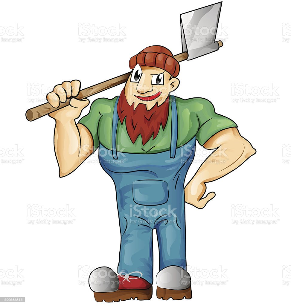 lumberjack cartoon isolated vector art illustration