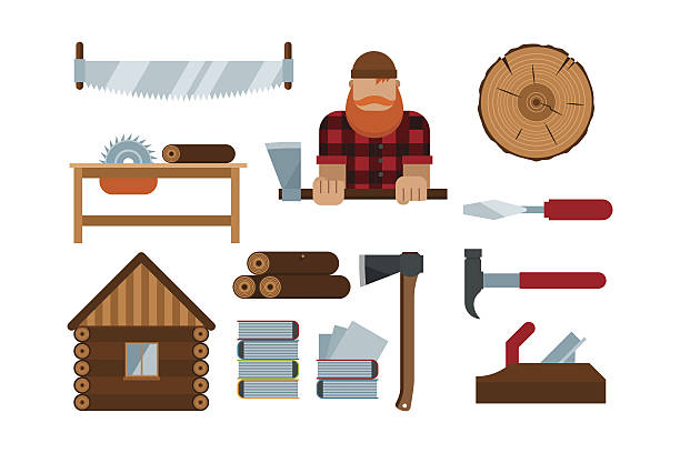 Lumberjack cartoon tools icons vector illustration Lumberjack cartoon tools icons vector illustration. Timber isolated on white background. Wood material nature industry design. Cutting deforestation elements equipment electric saw stock illustrations