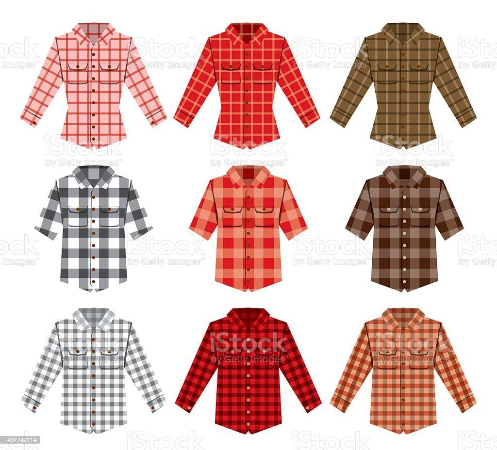 Lumberjack check shirt lumberjack old fashion patterns vector art illustration