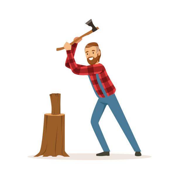 illustrations, cliparts, dessins animés et icônes de bûcheron, couper le bois avec un vecteur de personnage haut en couleur de hache illustration - man axe wood