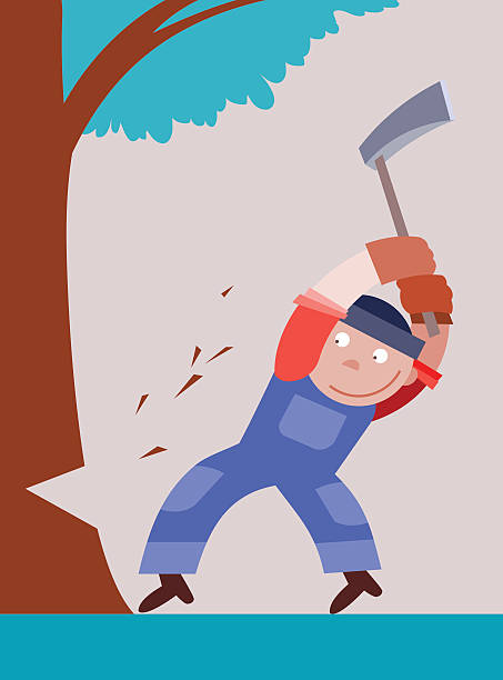 illustrations, cliparts, dessins animés et icônes de bûcheron coupe un arbre de hache - man axe wood