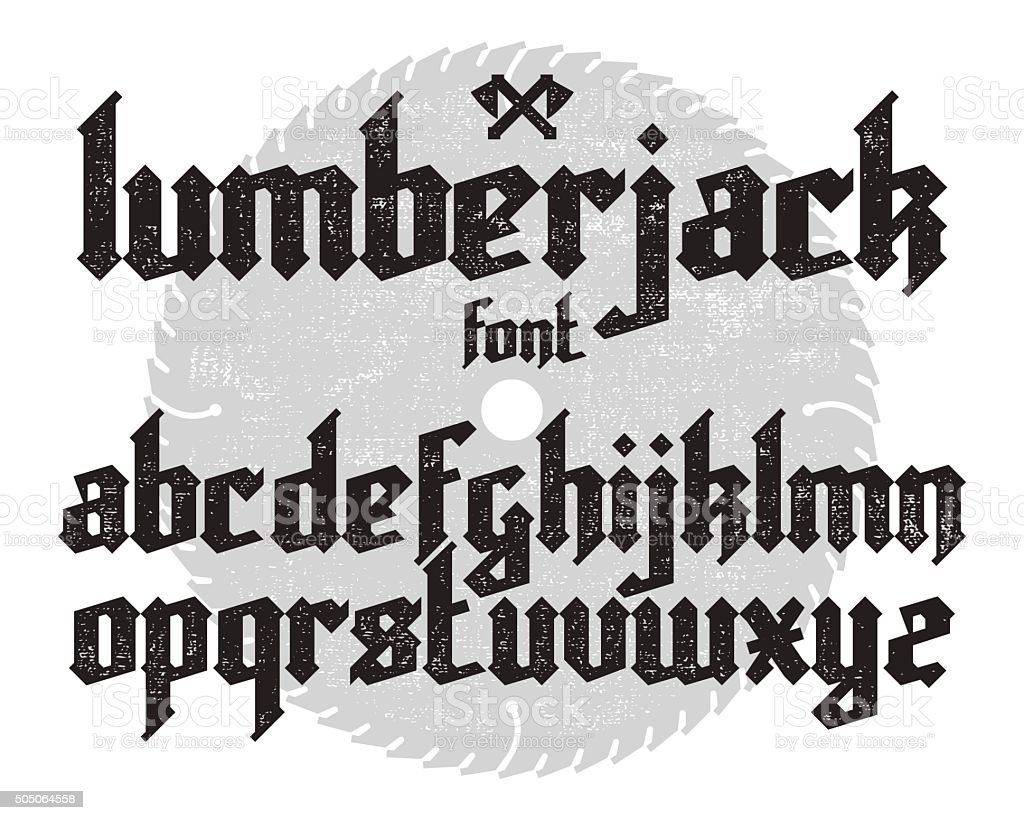 Lumberjack gothic font vector art illustration