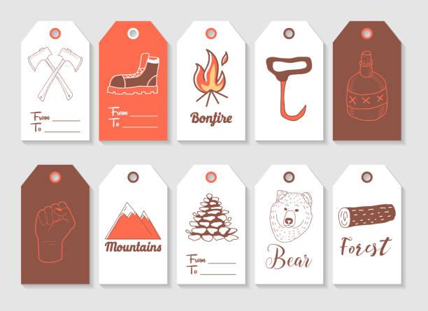 illustrations, cliparts, dessins animés et icônes de collection de tags bûcheron dessinés à la main. style vintage éléments freehand hache, hipster, bûcheron. illustration vectorielle - man axe wood