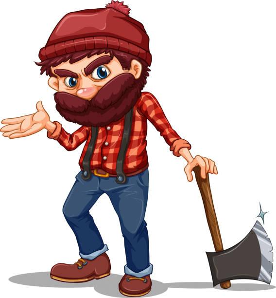 lumberjack holding a sharp axe - old man clipart stock illustrations, clip art, cartoons, & icons