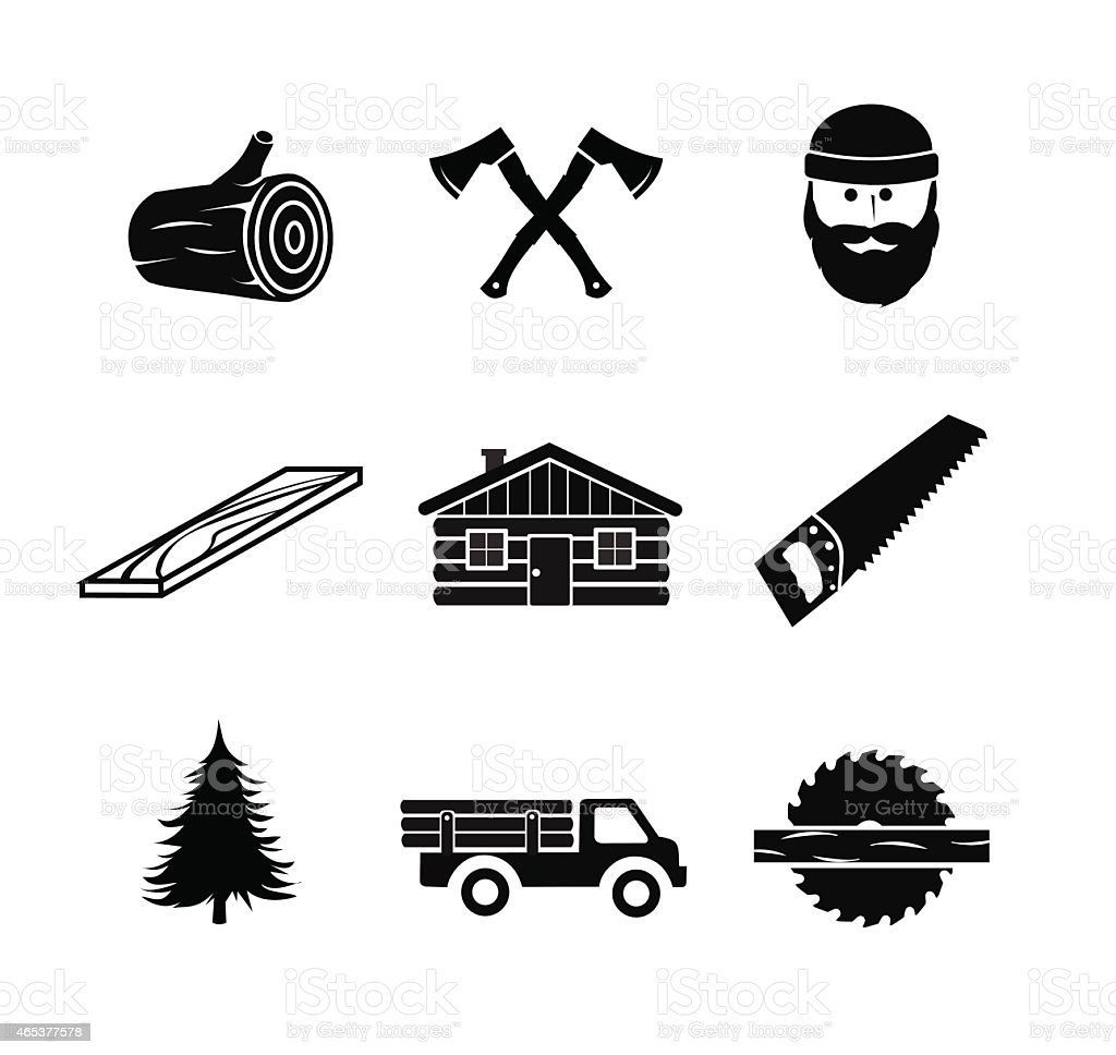 Lumberjack icon set vector illustration vector art illustration