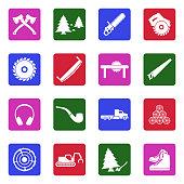 Lumberjack Icons. White Flat Design In Square. Vector Illustration.