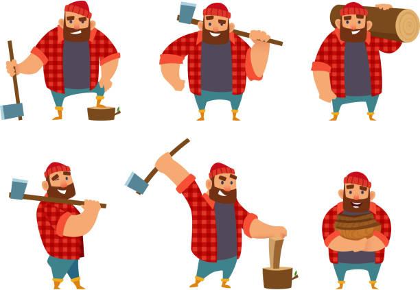 illustrations, cliparts, dessins animés et icônes de bûcheron dans différentes poses, tenant la hache dans les mains. isoler les images vectorielles sur blanc - man axe wood