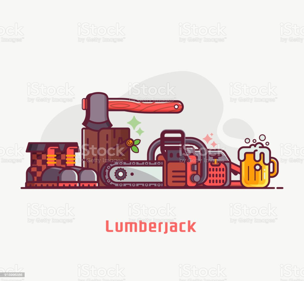 Lumberjack Lifestyle Equipment and Tools vector art illustration