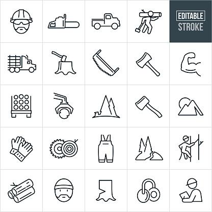 Lumberjack Line Icons - Editable Stroke