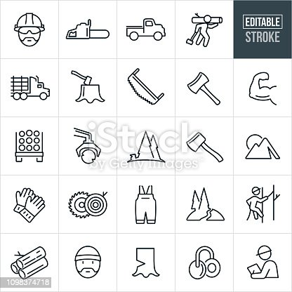 A set of lumberjack and logging icons that include editable strokes or outlines using the EPS vector file. The icons include a lumberjack, logging, chainsaw, work truck, logging truck, semi-truck, axe, wood saw, cutting, machinery, forest, work gloves, tools, saw, wood and ear protection to name a few.