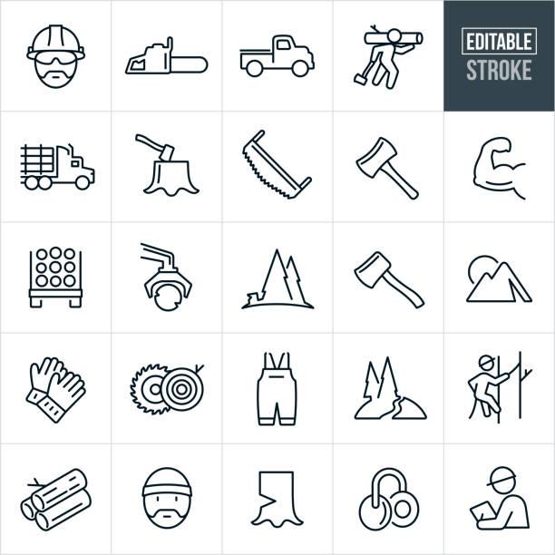illustrazioni stock, clip art, cartoni animati e icone di tendenza di lumberjack line icons - editable stroke - industria forestale