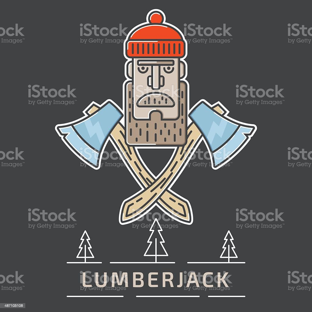 Lumberjack logo vector art illustration