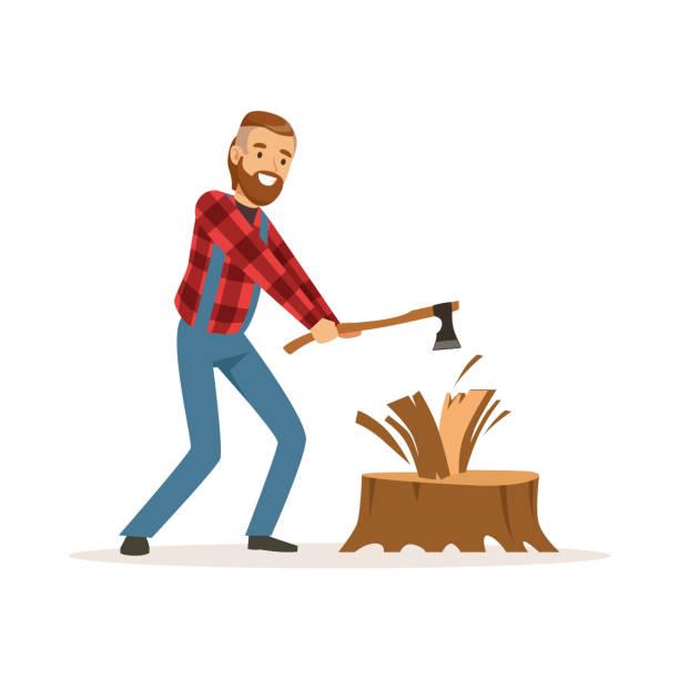 illustrations, cliparts, dessins animés et icônes de homme de bûcheron dans une chemise à carreaux rouge couper le bois avec un vecteur de personnage haut en couleur de hache illustration - man axe wood