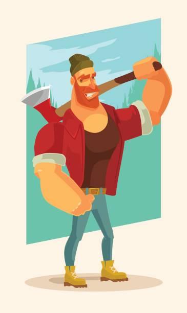 illustrations, cliparts, dessins animés et icônes de caractère de mascotte bûcheron homme tenir hache - man axe wood