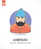 istock Lumberjack man with long beard Hipster style woodcutter illustration 627091108