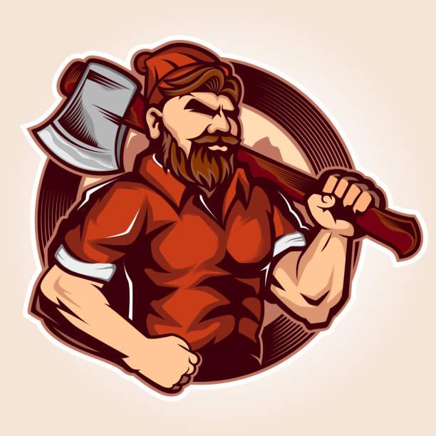 illustrations, cliparts, dessins animés et icônes de la conception du logo de la mascotte de bûcheron tiennent la hache - man axe wood