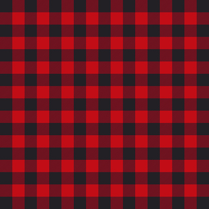 Lumberjack plaid pattern. Black and red lumberjack. Vector on isolated background. EPS 10