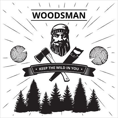 Lumberjack 's and sawmill's poster . Vector