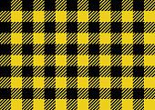 Lumberjack seamless background pattern design in yellow and black.