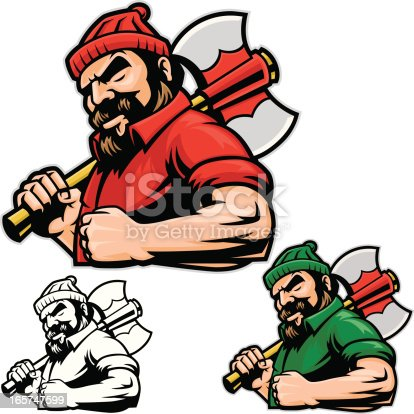 This is an illustration of a Lumberjack showing strength. This file contains two color versions and a Black and white. Easy to edit and change color, nothing too complex. All secondary color levels are removable down to a simple flat color image. The file is provided as an Illustrator 8 EPS and a 300dpi high-rez jpg.