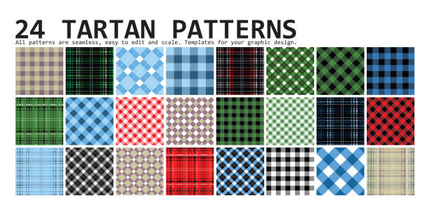 Lumberjack Tartan. 24 patterns Lumberjack Tartan and Buffalo Check Plaid Patterns in Red, Black, White and Khaki. Trendy Hipster Style Backgrounds. Vector EPS File Pattern Swatches made with Global Colors. tartan pattern stock illustrations