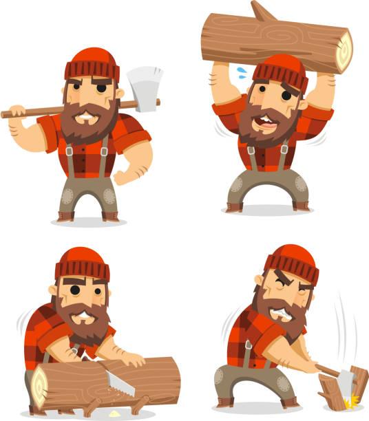 lumberjack timber cutting wood - plaid shirt stock illustrations