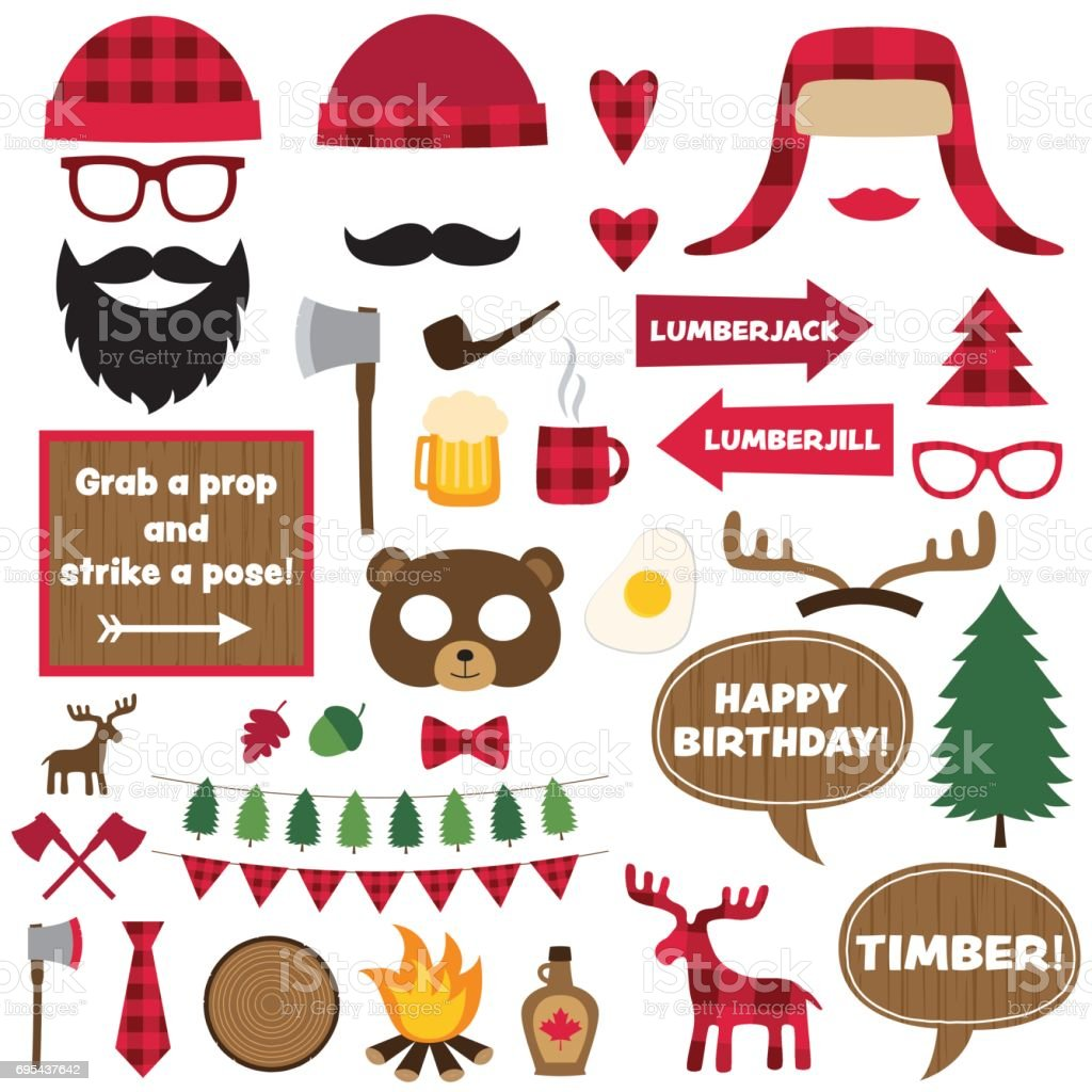 Lumberjack vector elements and photo booth props set vector art illustration