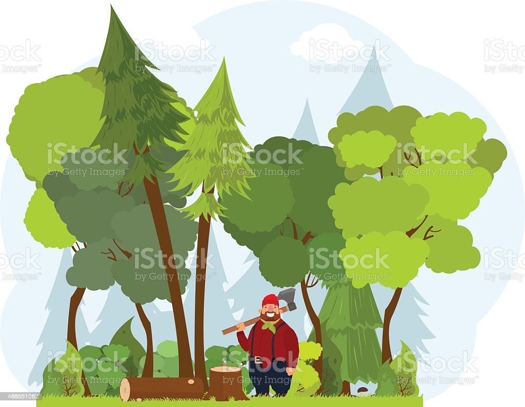 lumberjack vector art illustration