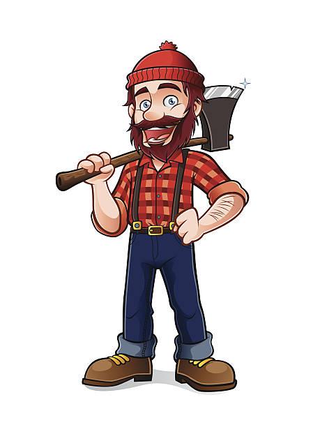 lumberjack - plaid shirt stock illustrations
