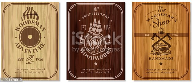 Lumberjack professional woodwork advertisement emblems labels  3 vertical banners with  polished wood texture surface  isolated vector illustration