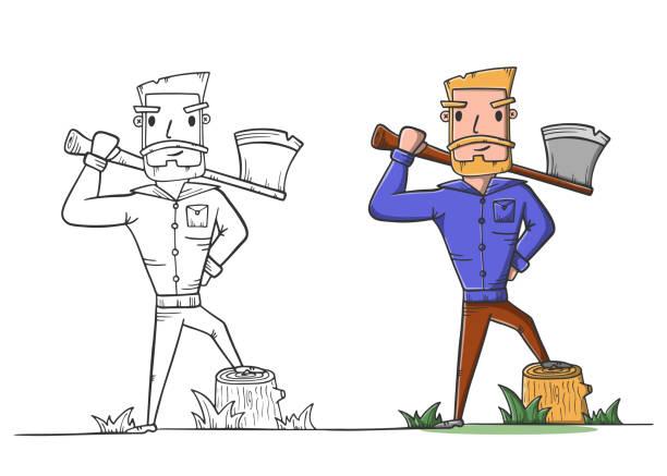 illustrations, cliparts, dessins animés et icônes de bûcheron avec la page de coloriage de hache. travail de bûcheron. - man axe wood