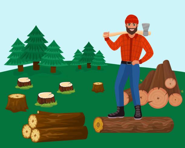 illustrations, cliparts, dessins animés et icônes de bûcheron avec hache dans l'illustration de vecteur de forêt. bûcheron coupant les arbres pour le bois, les rondins. épinettes, souches. - man axe wood