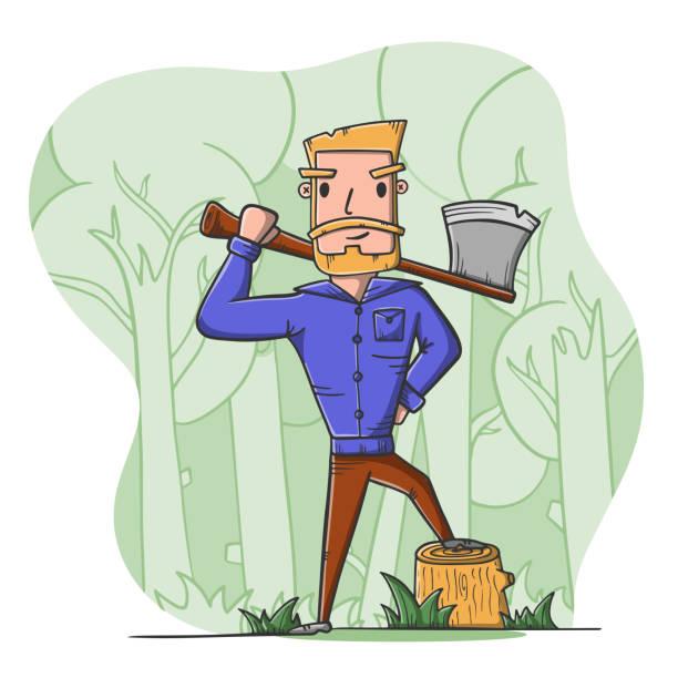 illustrations, cliparts, dessins animés et icônes de bûcheron avec la hache dans la forêt. travail de bûcheron. - man axe wood