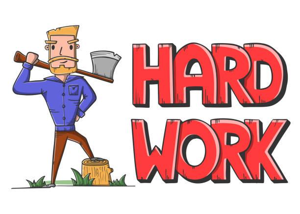 illustrations, cliparts, dessins animés et icônes de bûcheron avec hache. lettres dur. travail de bûcheron. vecteur de modèle de dessin animé. - man axe wood