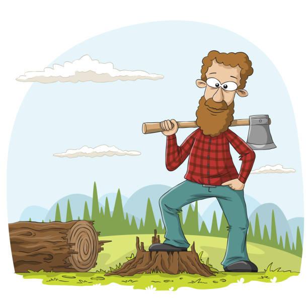 illustrations, cliparts, dessins animés et icônes de bûcheron avec la hache - man axe wood