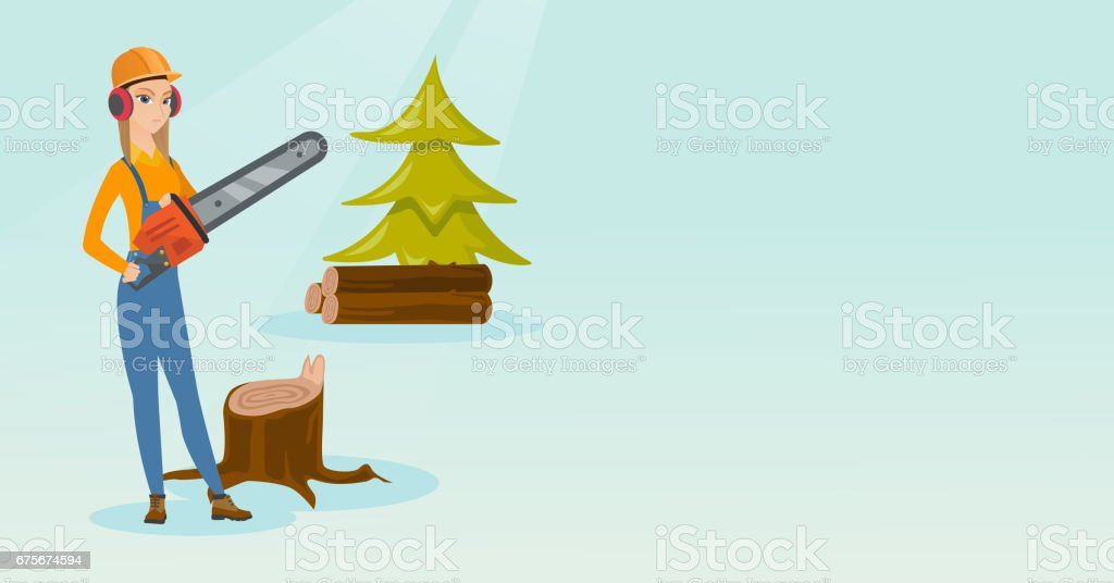 Lumberjack with chainsaw vector illustration royalty-free lumberjack with chainsaw vector illustration stock vector art & more images of business finance and industry