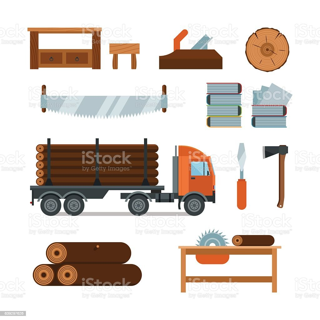 Lumberjack Woodworking Tools Icons Vector Illustration Stock Vector