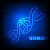 Luminous DNA Helix Icon Structure Molecular Science and Biology Concept on Blue Technology Background - Vector Illustration