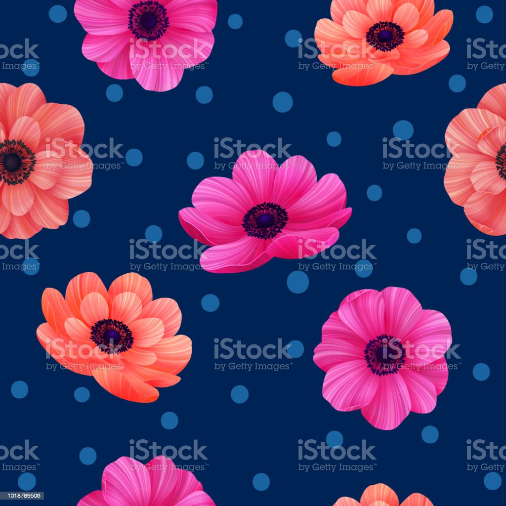 Luminous Tropical Seamless Pattern With 3d Style Flowers And Polka