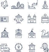 Luna park amusement line vector icons