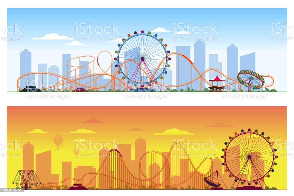 Luna park concept. Amusing entertainment amusement  colored background vector illustration – Vektorgrafik