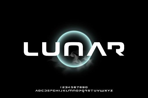 Lunar, a modern minimalist futuristic alphabet font design