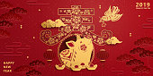 Lunar new year banner design with golden color piggy in spring word written in Chinese characters, red auspicious background
