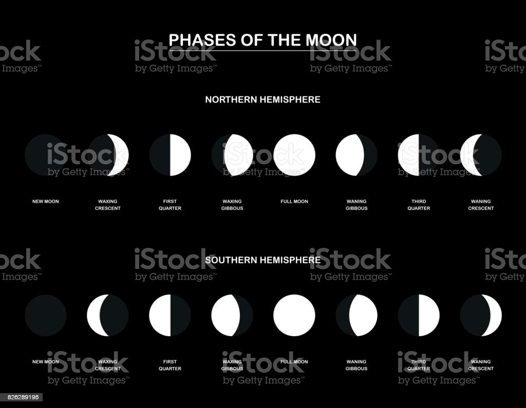 Lunar phases - chart with the contrary phases of the moon observed from the northern and southern hemisphere of planet earth. Vector illustration on black background. Lunar phases - chart with the contrary phases of the moon observed from the northern and southern hemisphere of planet earth. Vector illustration on black background. Astronomy stock vector