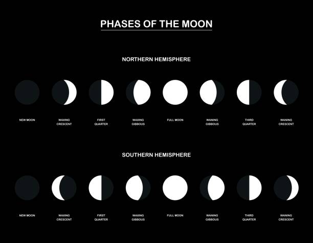 bildbanksillustrationer, clip art samt tecknat material och ikoner med månens faser - diagram med motsatta faser månen observeras från den norra och södra halvklotet av jorden. vektorillustration på svart bakgrund. - northern lights