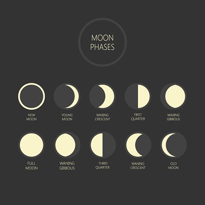 Lunar phases vector illustration. Moon phase cycle, new moon, full moon icons.