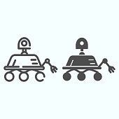 Lunar Rover line and solid icon. Moon exploration buggie with three wheels. World space week design concept, outline style pictogram on white background, use for web and app. Eps 10