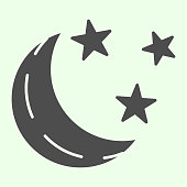 Lunar weather solid icon. Moon crescent and stars glyph style pictogram on white background. Nighttime sign for mobile concept and web design. Vector graphics