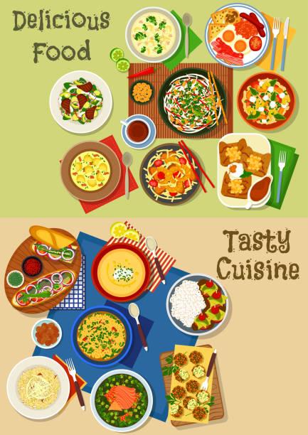illustrations, cliparts, dessins animés et icônes de icône du menu déjeuner déjeuner et scénographie - risotto