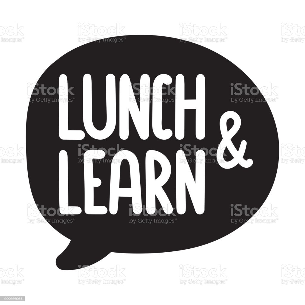 Lunch and learn. Vector hand drawn speech bubble icon, badge illustration on white background. vector art illustration
